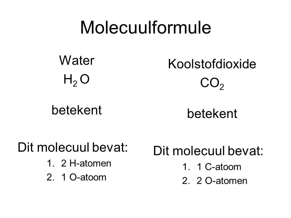 Molecuulformule Water Koolstofdioxide H2 O CO2 betekent betekent