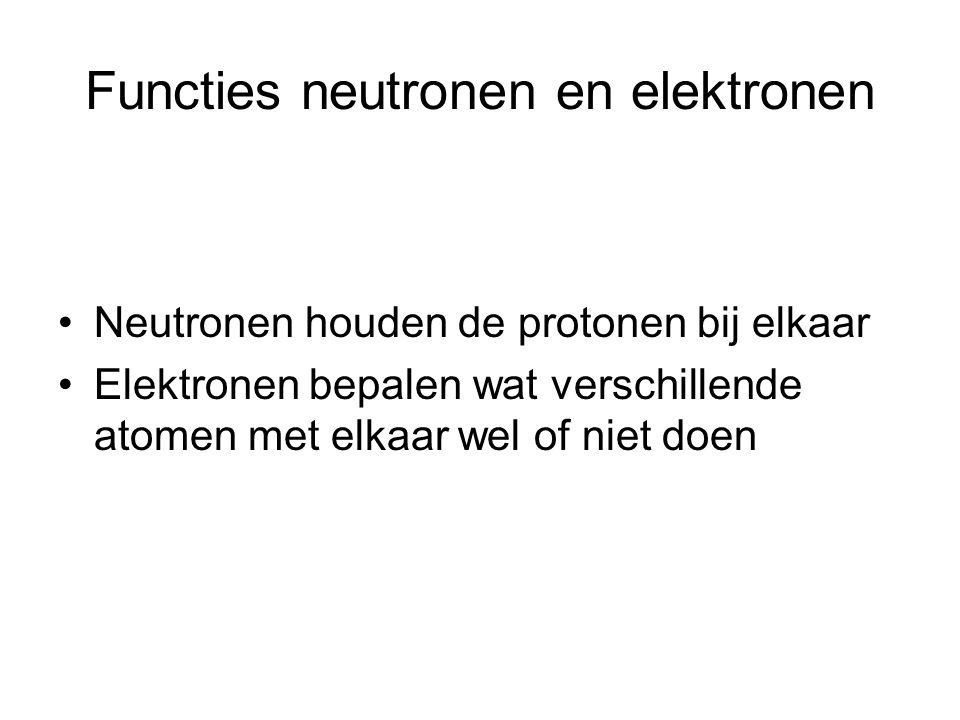 Functies neutronen en elektronen