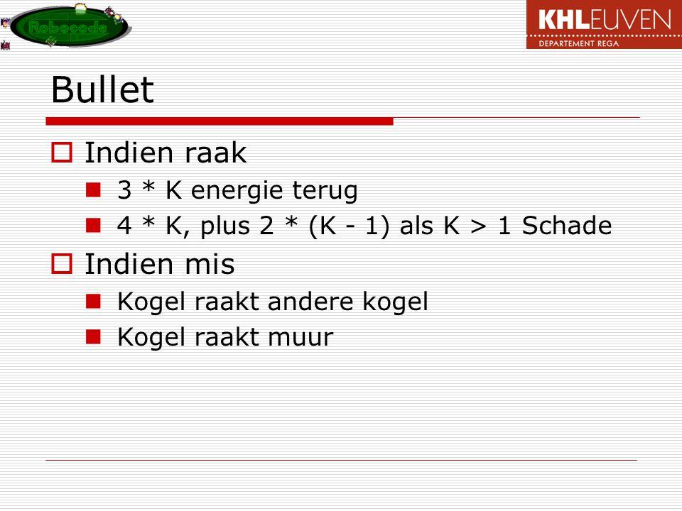 Bullet Indien raak Indien mis 3 * K energie terug