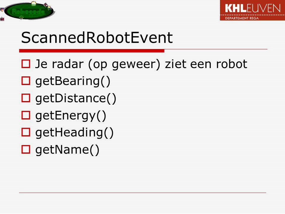 ScannedRobotEvent Je radar (op geweer) ziet een robot getBearing()