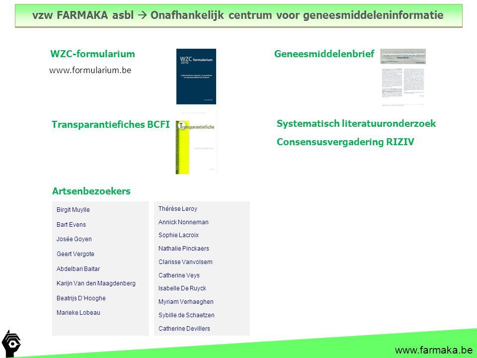 vzw FARMAKA asbl  Onafhankelijk centrum voor geneesmiddeleninformatie