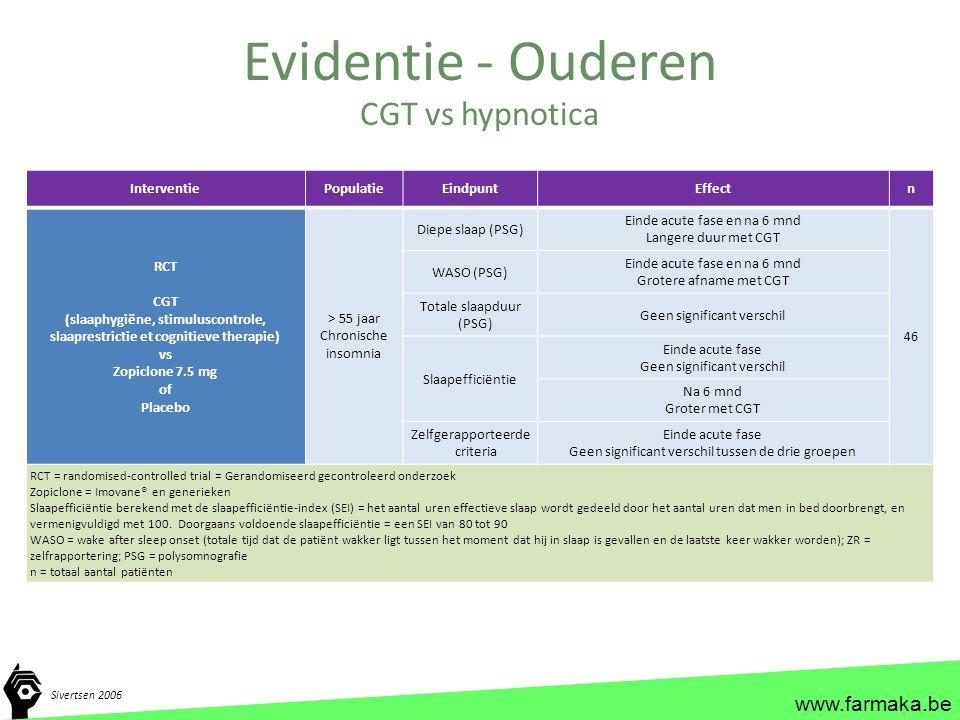 Evidentie - Ouderen CGT vs hypnotica Interventie Populatie Eindpunt