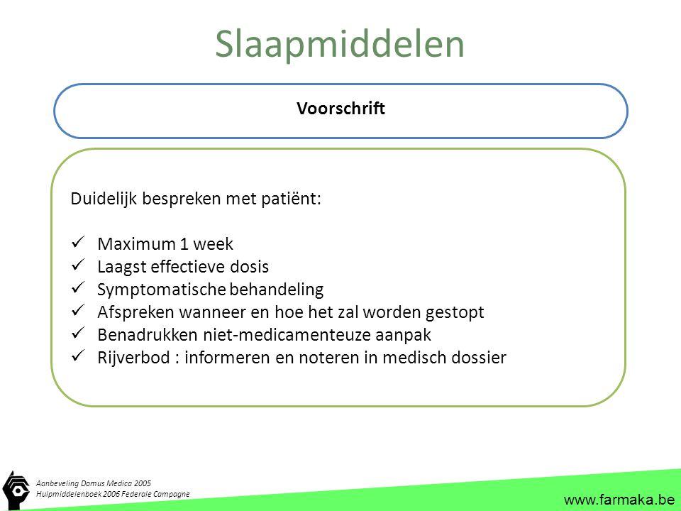 Slaapmiddelen Voorschrift Duidelijk bespreken met patiënt: