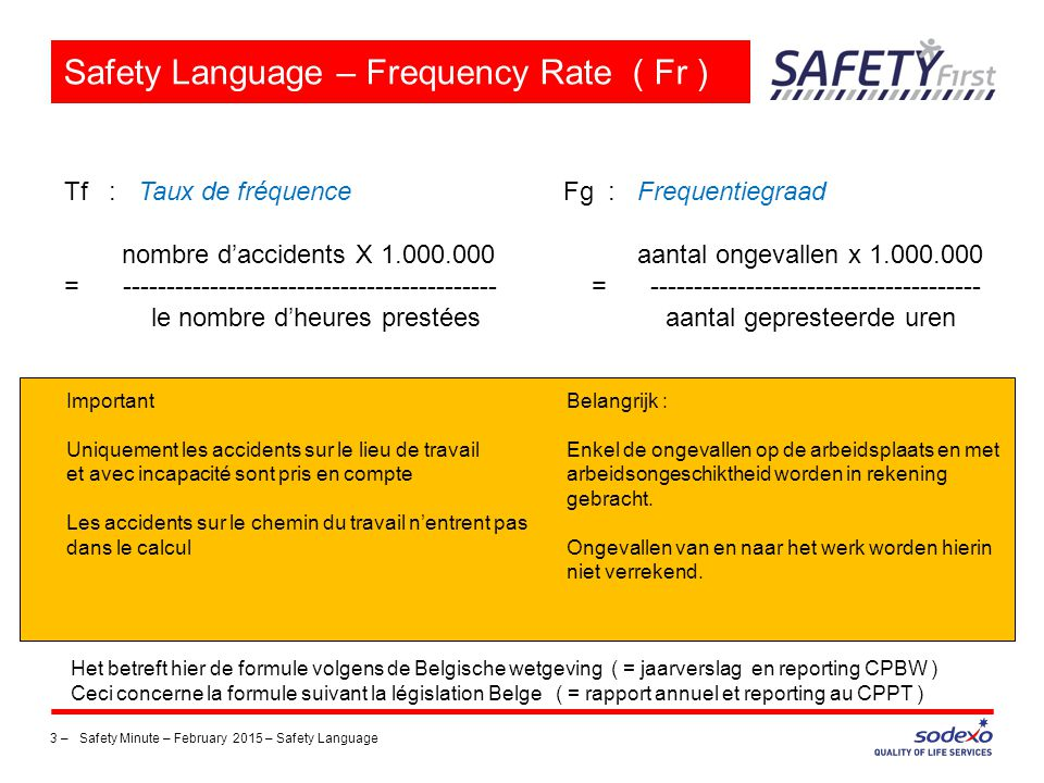 Safety Language – Frequency Rate ( Fr )