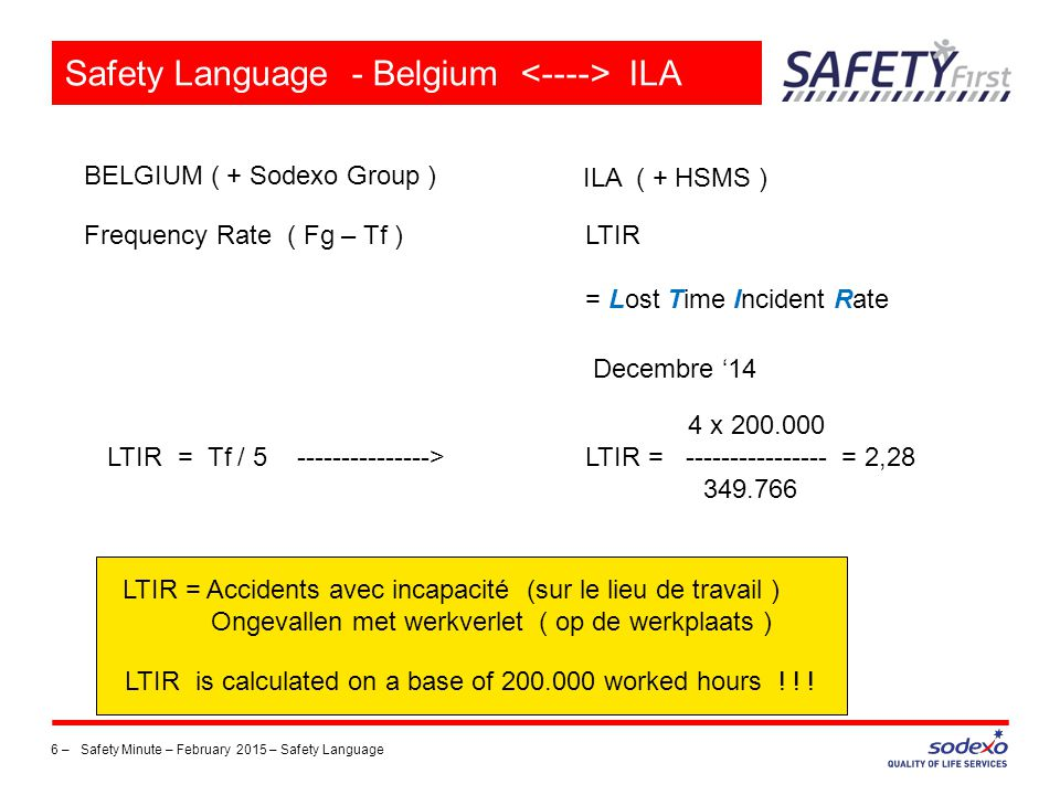 Safety Language - Belgium <----> ILA
