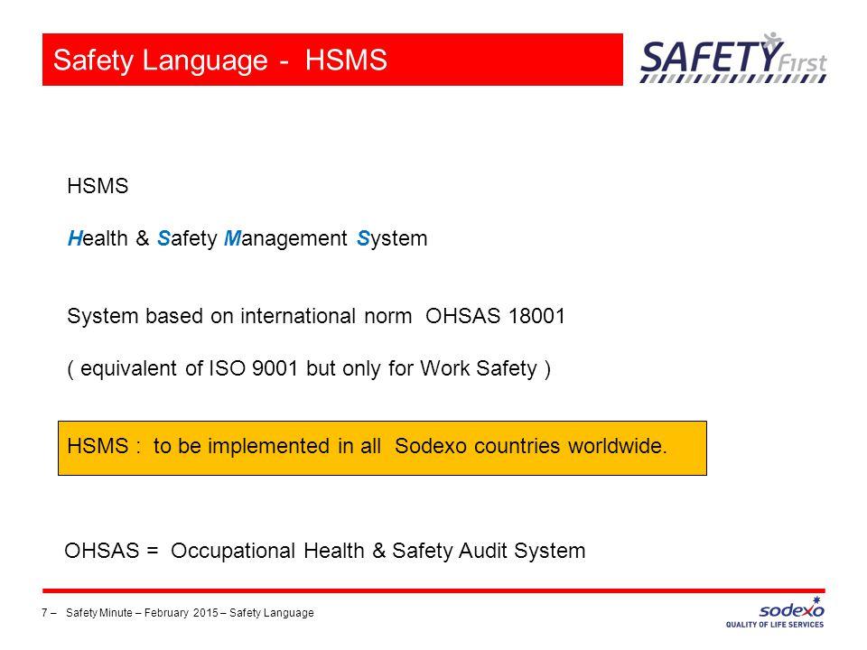 Safety Language - HSMS HSMS