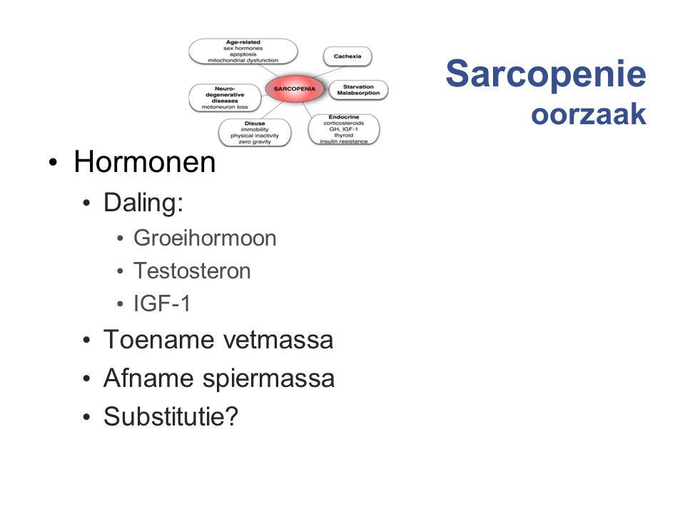 Sarcopenie oorzaak Hormonen Daling: Toename vetmassa Afname spiermassa