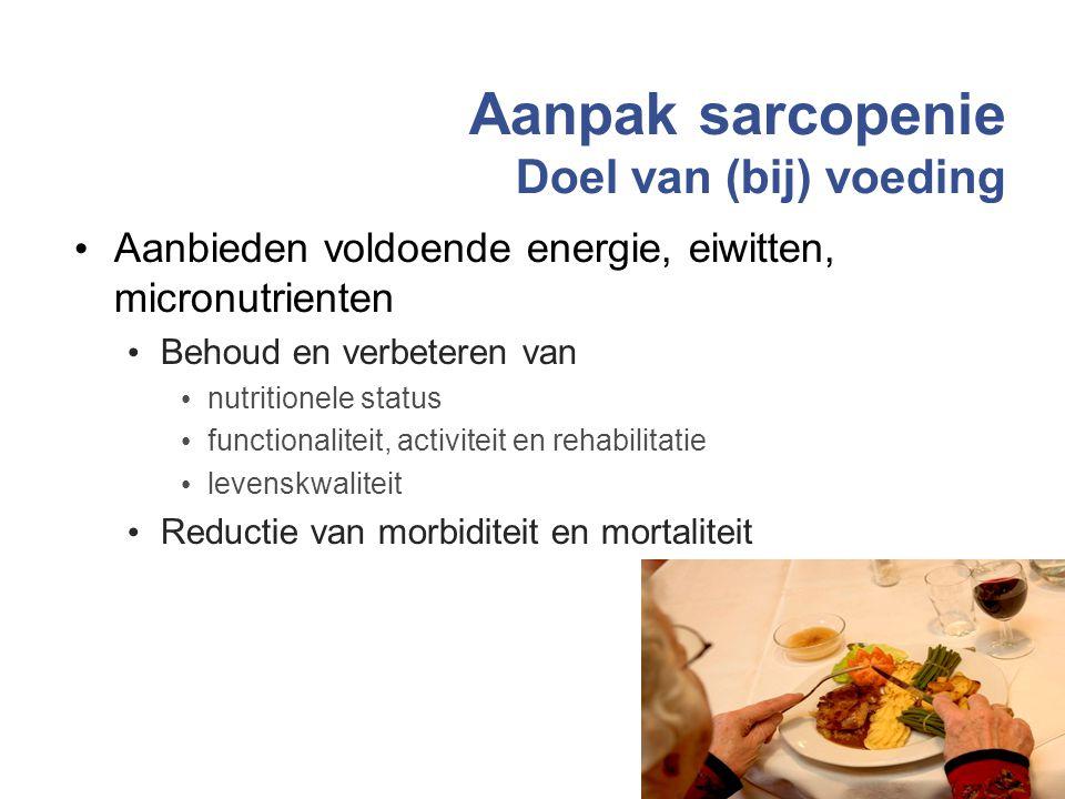 Aanpak sarcopenie Doel van (bij) voeding
