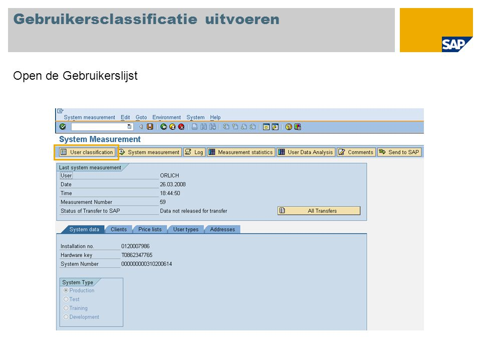 Gebruikersclassificatie uitvoeren
