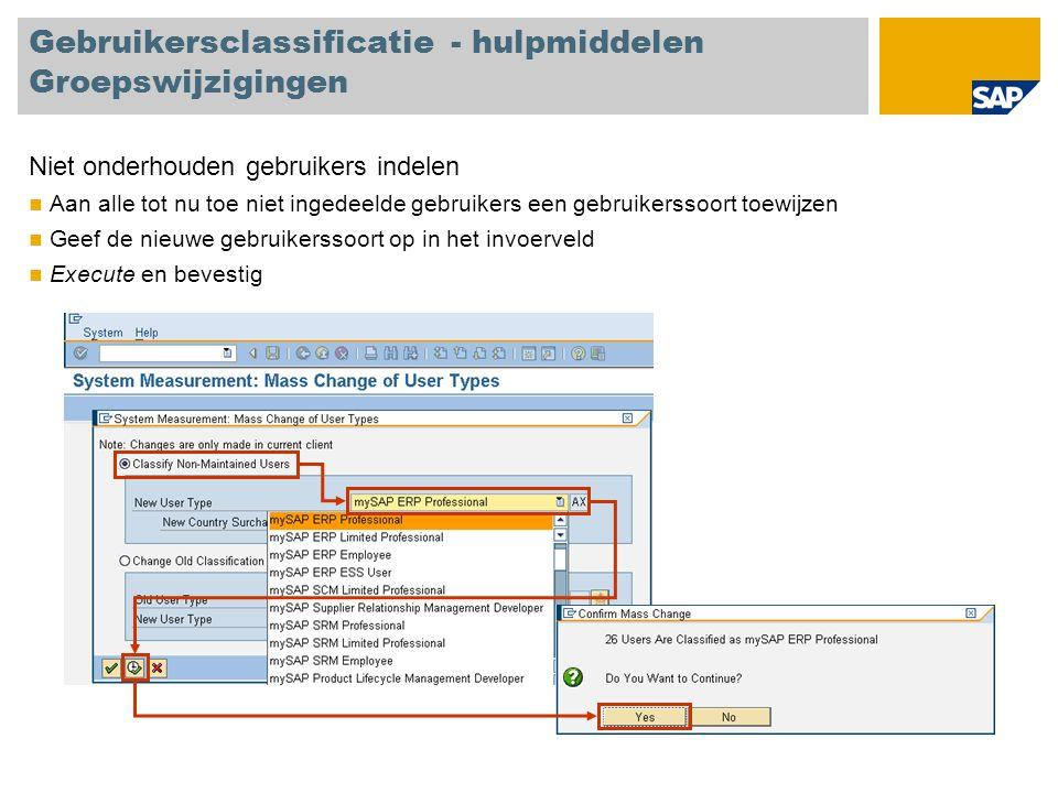 Gebruikersclassificatie - hulpmiddelen Groepswijzigingen