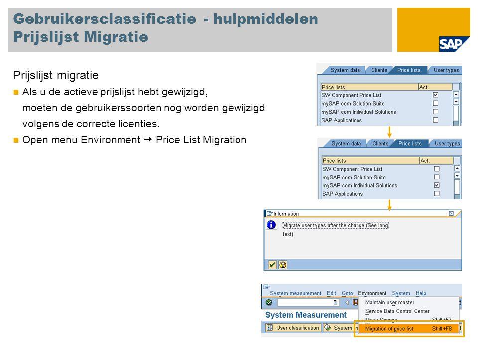 Gebruikersclassificatie - hulpmiddelen Prijslijst Migratie
