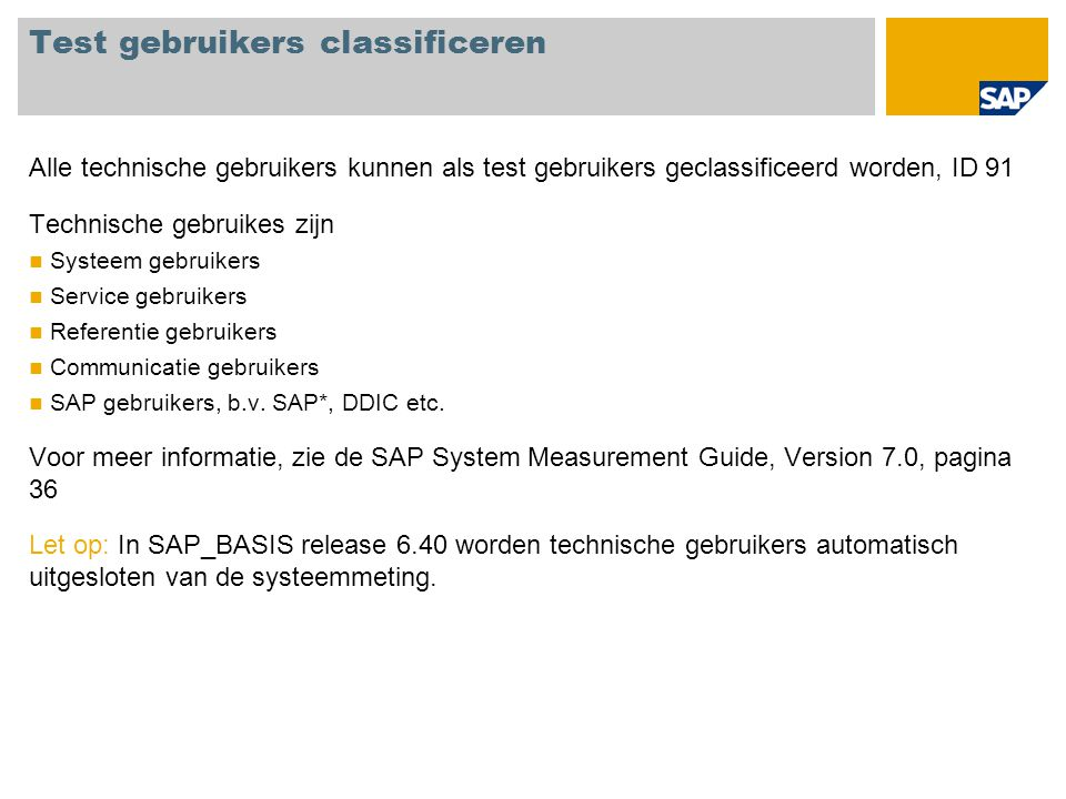 Test gebruikers classificeren