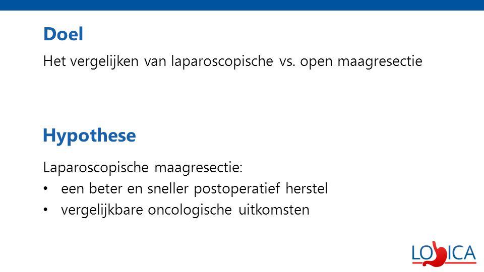 Doel Het vergelijken van laparoscopische vs. open maagresectie. Laparoscopische maagresectie: een beter en sneller postoperatief herstel.