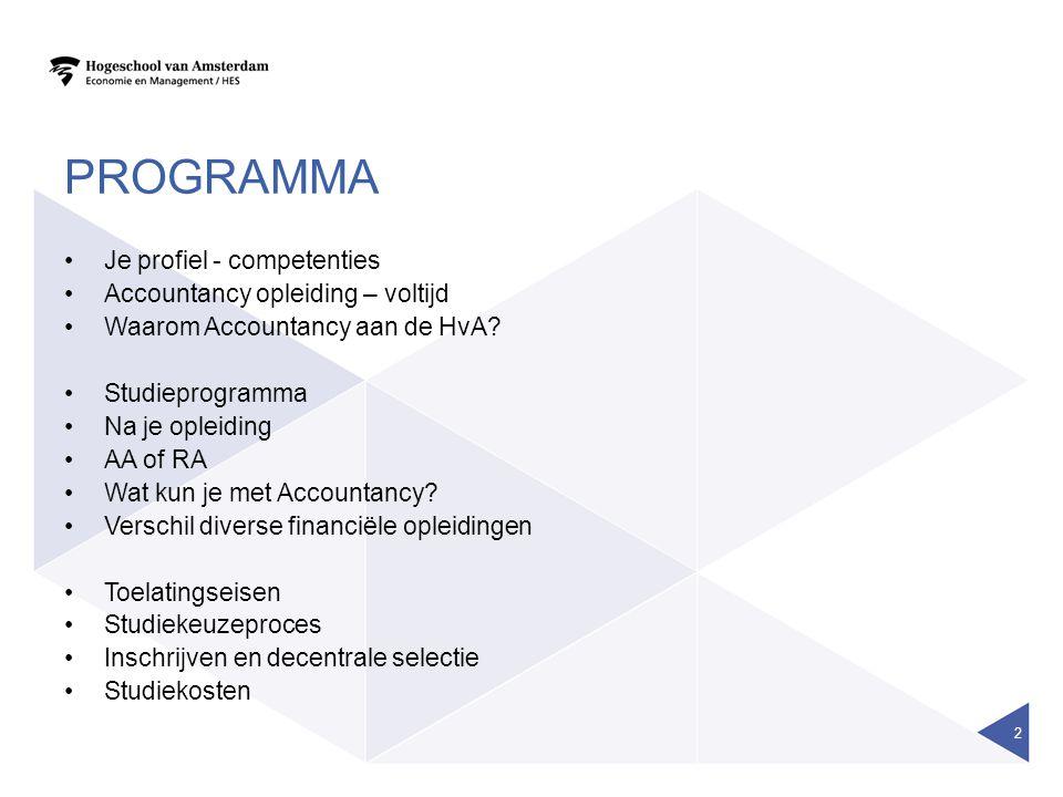 Programma Je profiel - competenties Accountancy opleiding – voltijd
