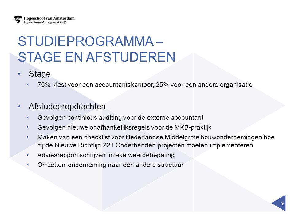 studieprogramma – stage en afstuderen