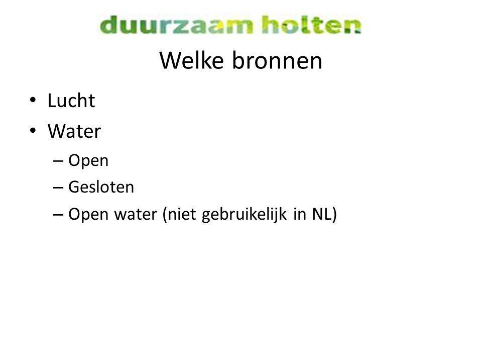 Welke bronnen Lucht Water Open Gesloten