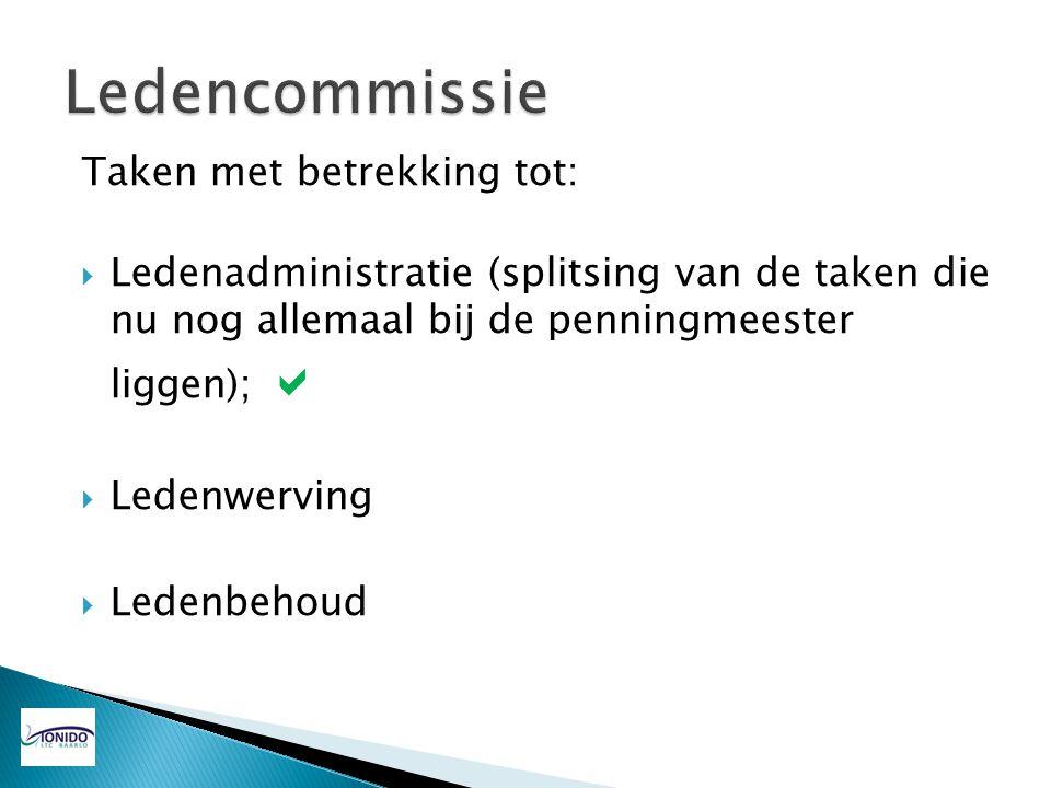 Ledencommissie Taken met betrekking tot: