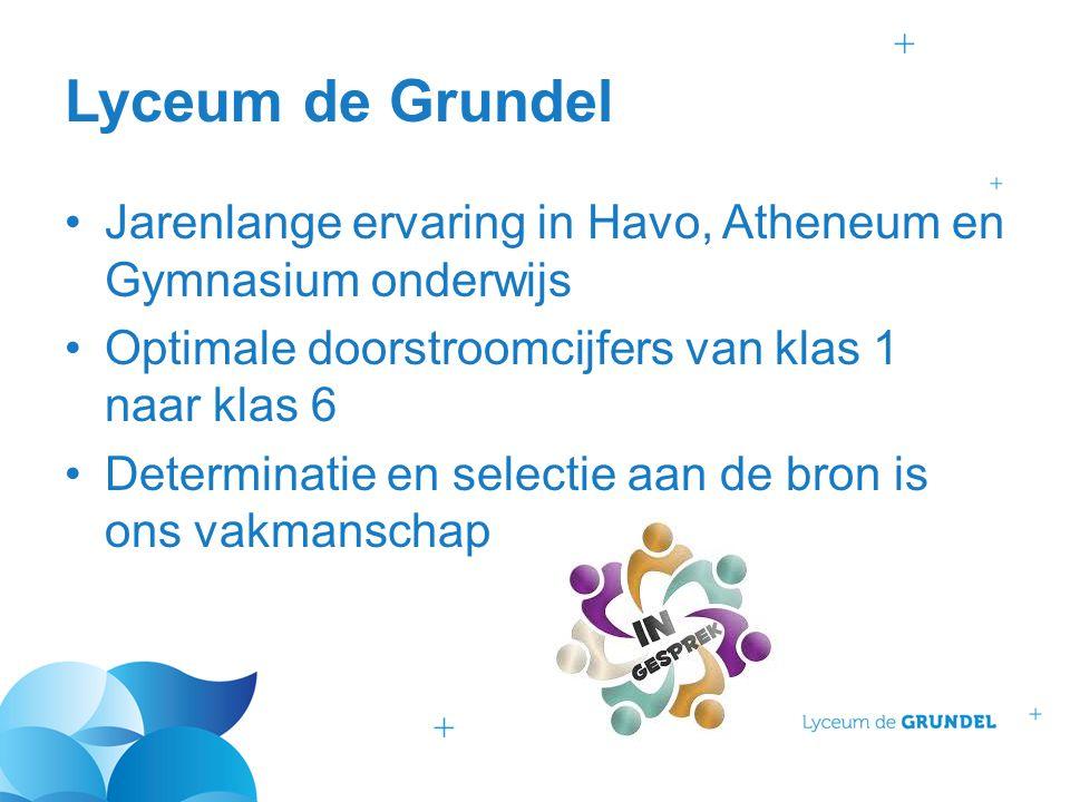 Lyceum de Grundel Jarenlange ervaring in Havo, Atheneum en Gymnasium onderwijs. Optimale doorstroomcijfers van klas 1 naar klas 6.