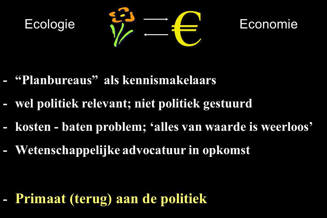 Ecologie Economie. - Planbureaus als kennismakelaars. - wel politiek relevant; niet politiek gestuurd.