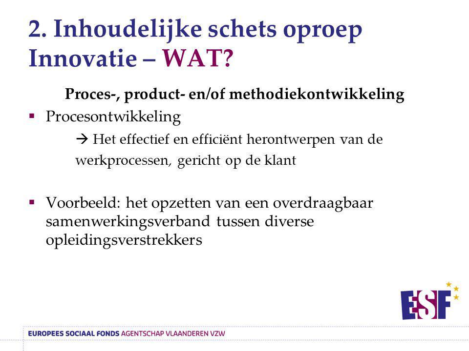 2. Inhoudelijke schets oproep Innovatie – WAT