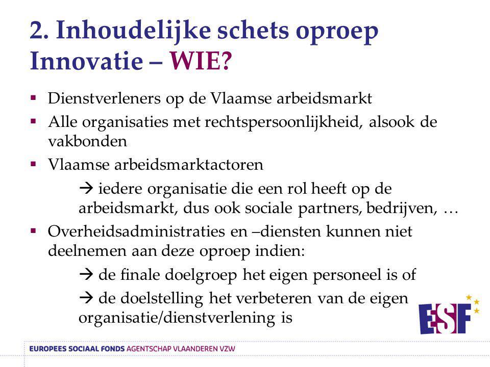 2. Inhoudelijke schets oproep Innovatie – WIE