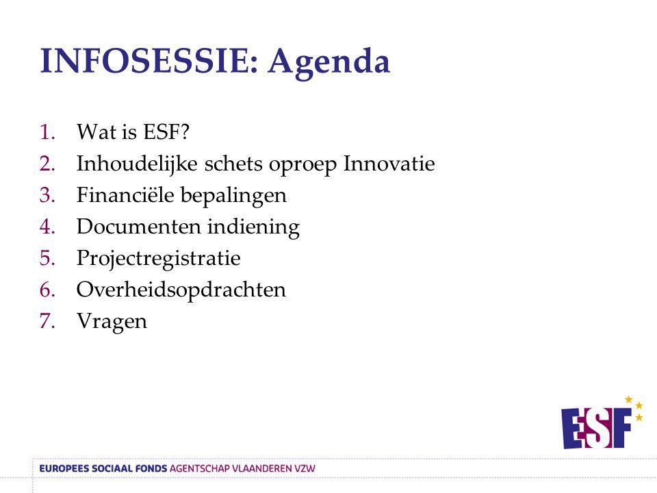INFOSESSIE: Agenda Wat is ESF Inhoudelijke schets oproep Innovatie