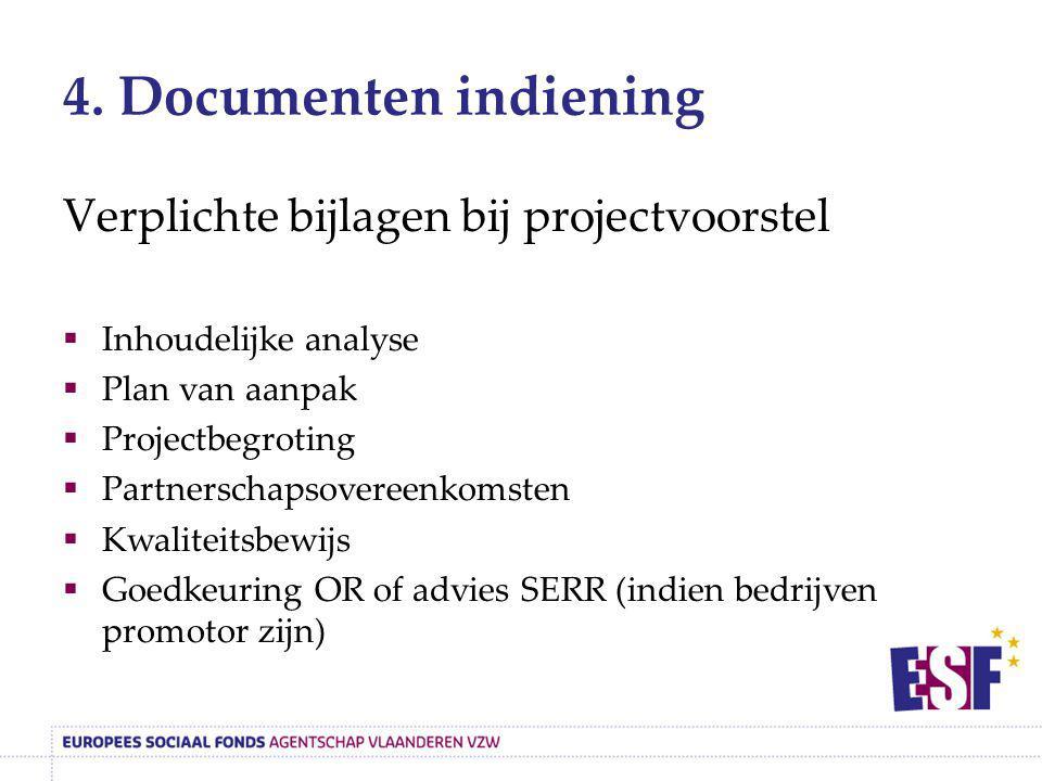 4. Documenten indiening Verplichte bijlagen bij projectvoorstel