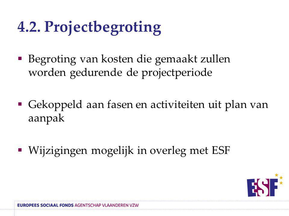 4.2. Projectbegroting Begroting van kosten die gemaakt zullen worden gedurende de projectperiode.