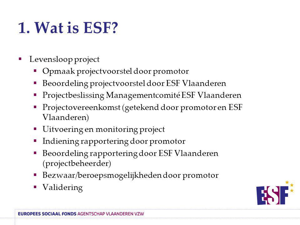 1. Wat is ESF Levensloop project Opmaak projectvoorstel door promotor