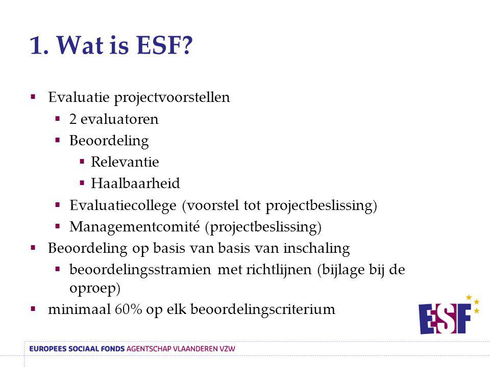 1. Wat is ESF Evaluatie projectvoorstellen 2 evaluatoren Beoordeling