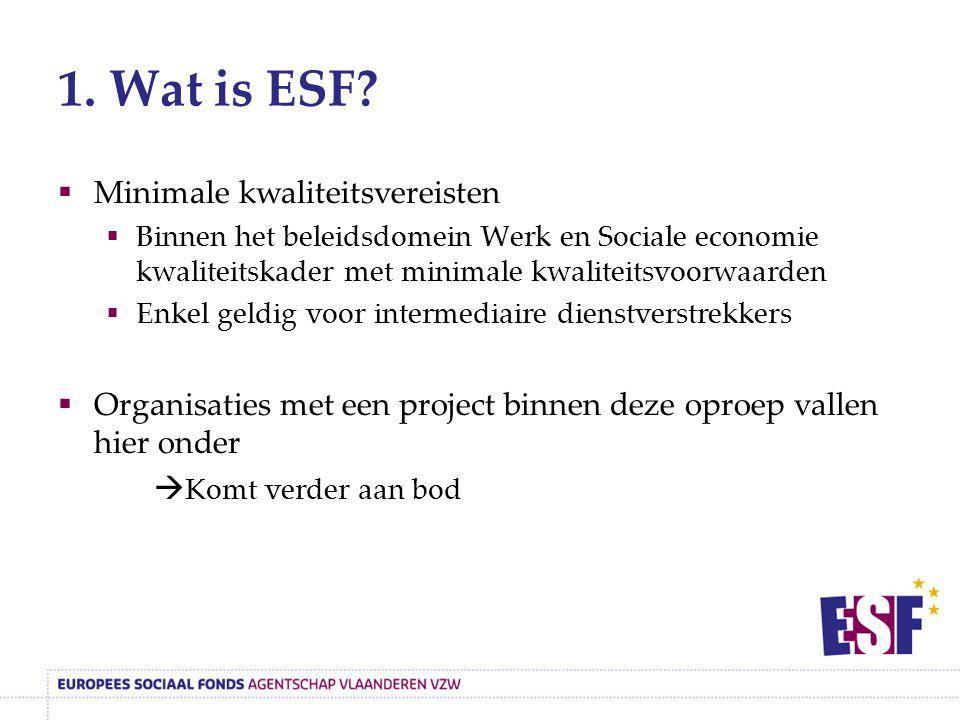 1. Wat is ESF Minimale kwaliteitsvereisten