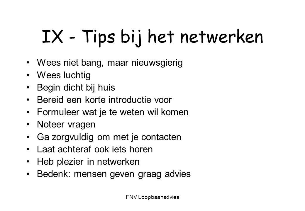 IX - Tips bij het netwerken