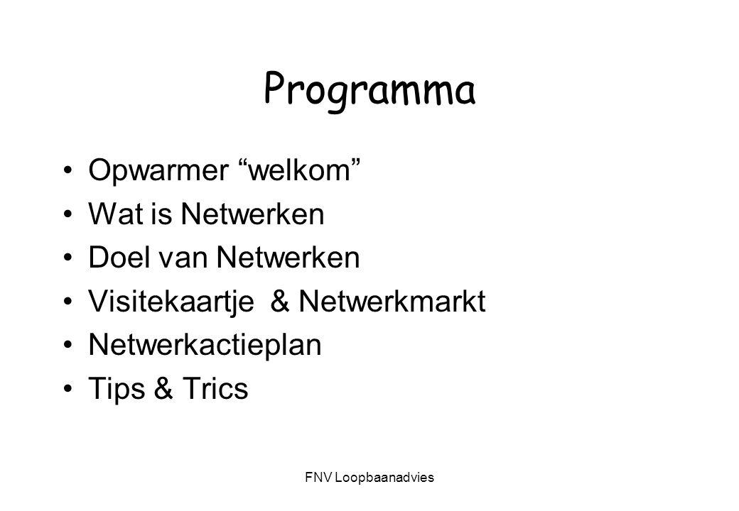 Programma Opwarmer welkom Wat is Netwerken Doel van Netwerken