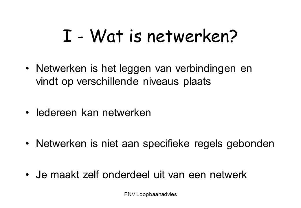 I - Wat is netwerken Netwerken is het leggen van verbindingen en vindt op verschillende niveaus plaats.