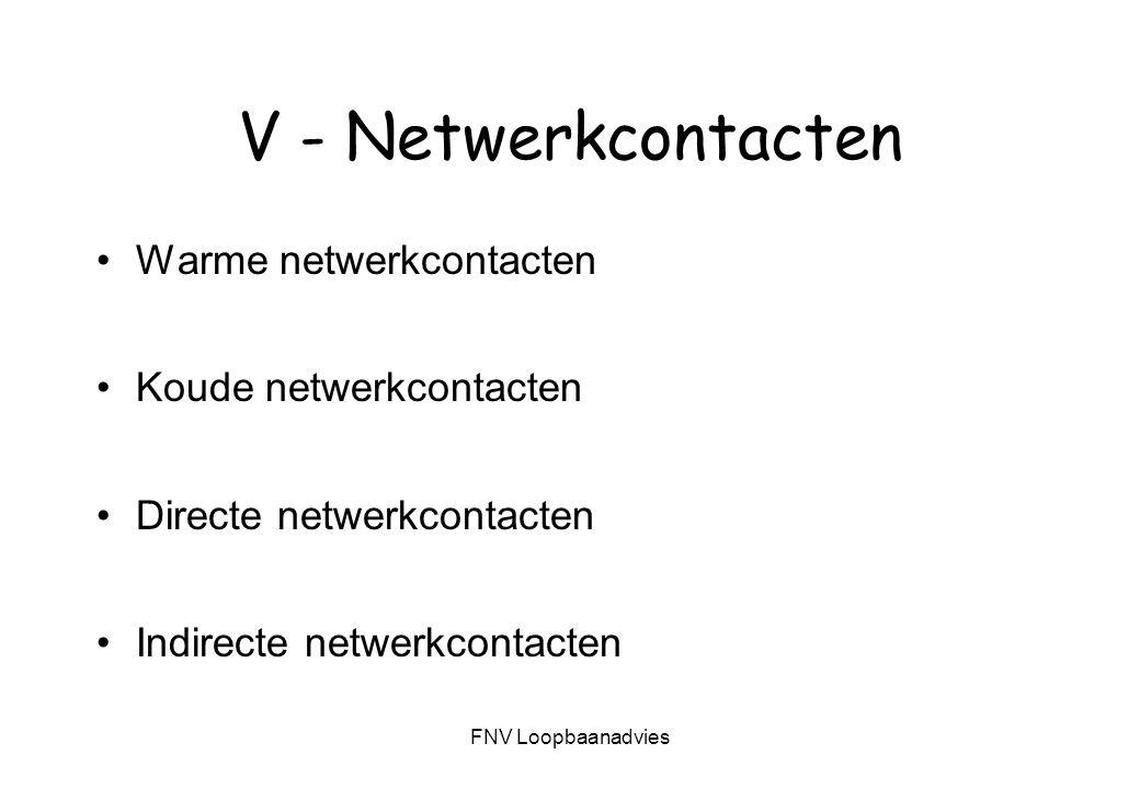 V - Netwerkcontacten Warme netwerkcontacten Koude netwerkcontacten