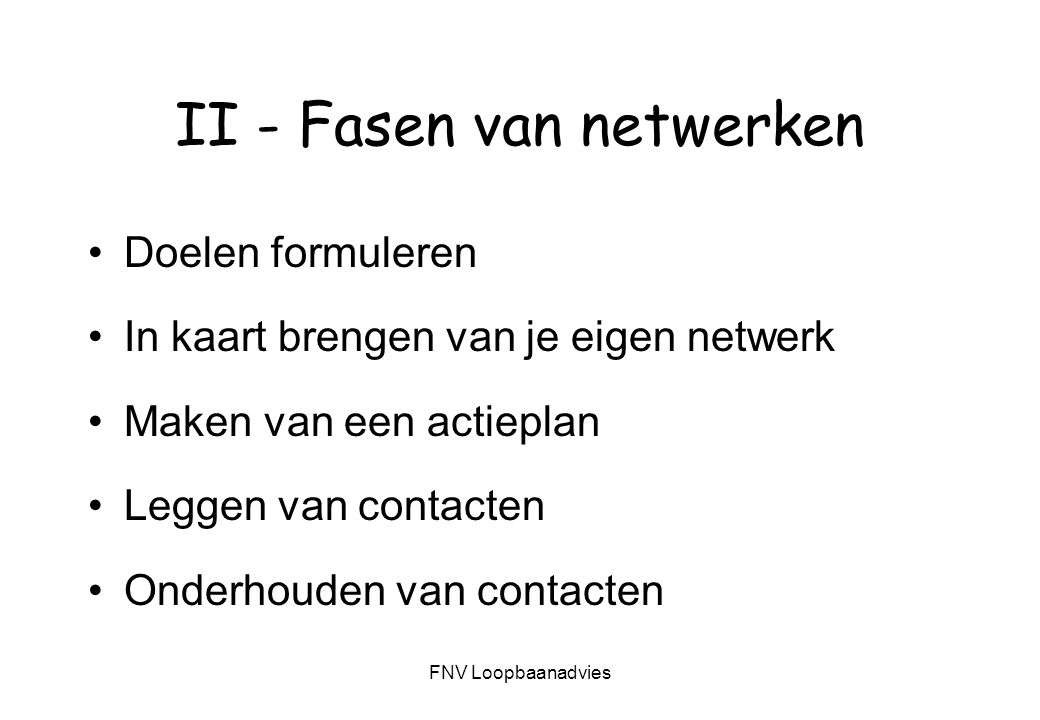 II - Fasen van netwerken