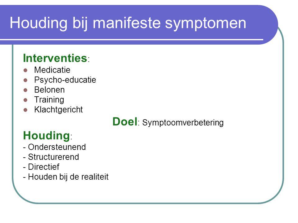 Houding bij manifeste symptomen