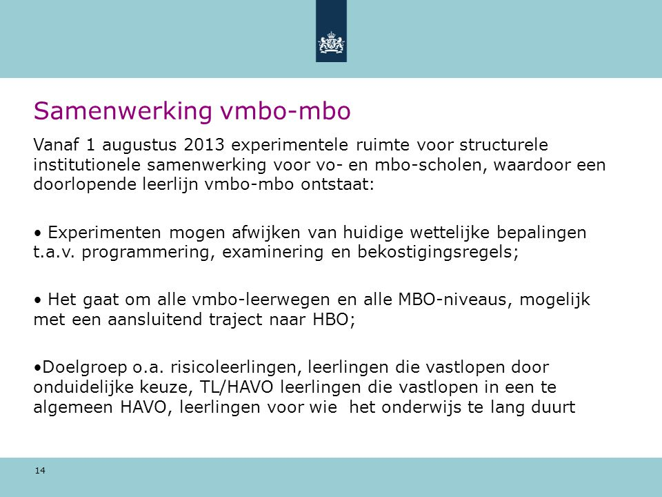 Samenwerking vmbo-mbo