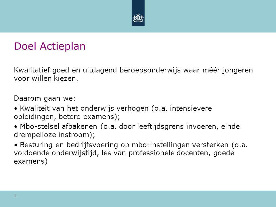 Doel Actieplan Kwalitatief goed en uitdagend beroepsonderwijs waar méér jongeren voor willen kiezen.