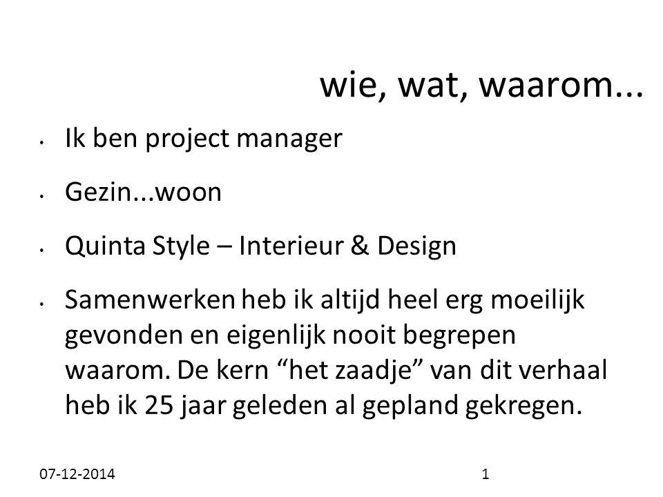 wie, wat, waarom... Ik ben project manager Gezin...woon