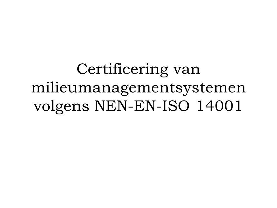 Certificering van milieumanagementsystemen volgens NEN-EN-ISO 14001