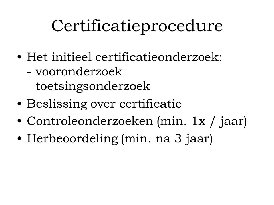 Certificatieprocedure