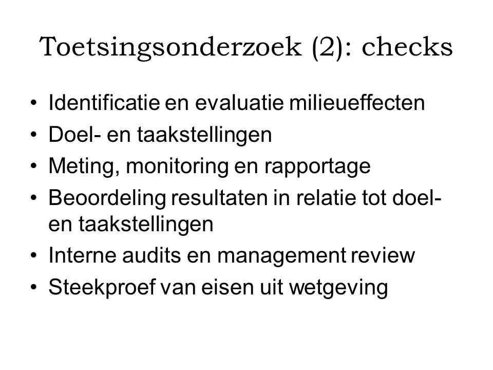 Toetsingsonderzoek (2): checks