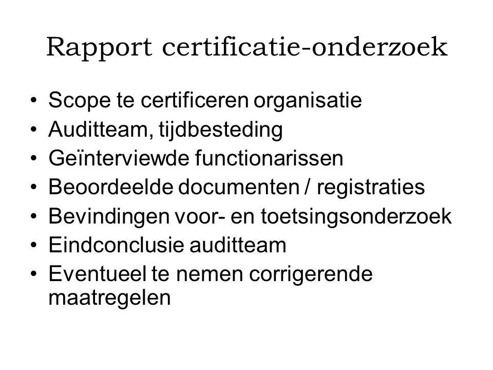 Rapport certificatie-onderzoek