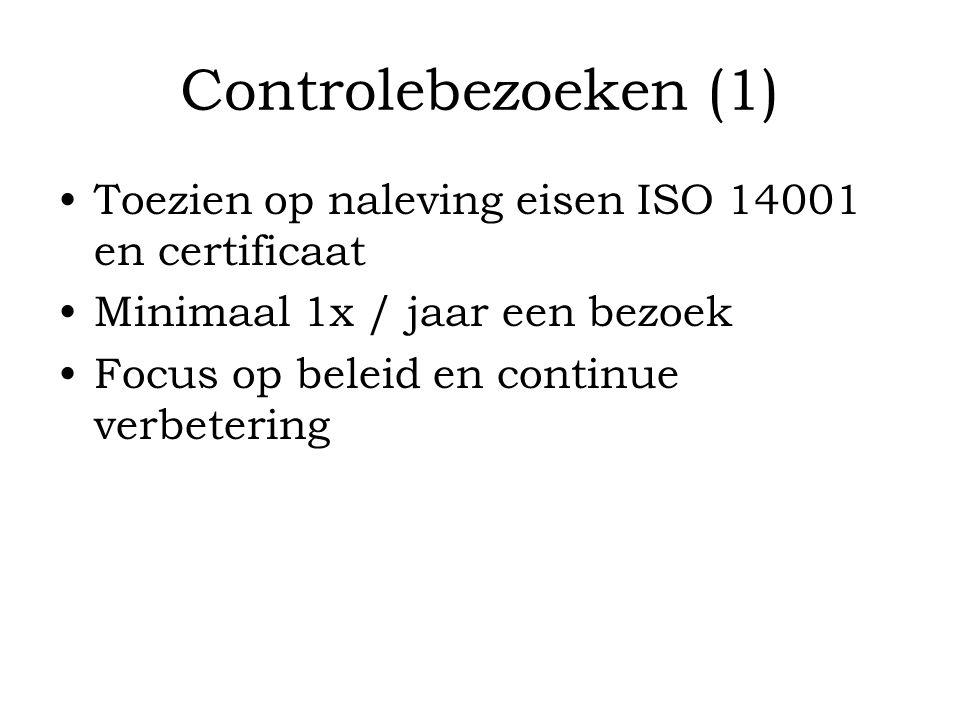 Controlebezoeken (1) Toezien op naleving eisen ISO 14001 en certificaat. Minimaal 1x / jaar een bezoek.