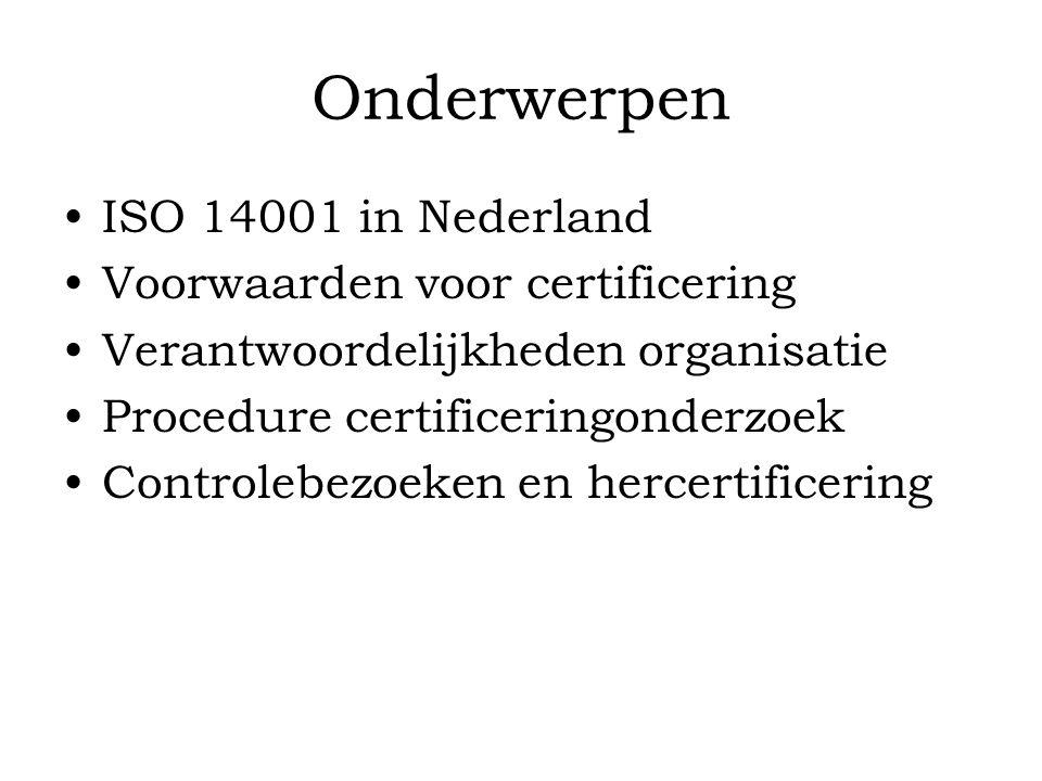 Onderwerpen ISO 14001 in Nederland Voorwaarden voor certificering