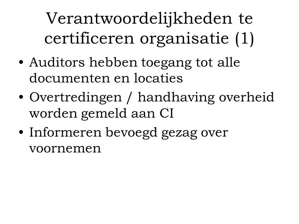 Verantwoordelijkheden te certificeren organisatie (1)