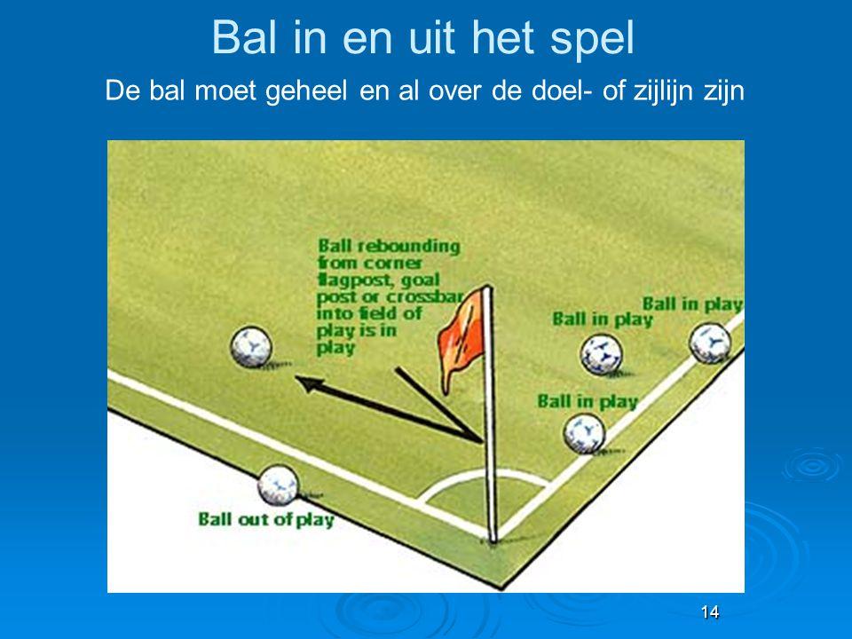De bal moet geheel en al over de doel- of zijlijn zijn