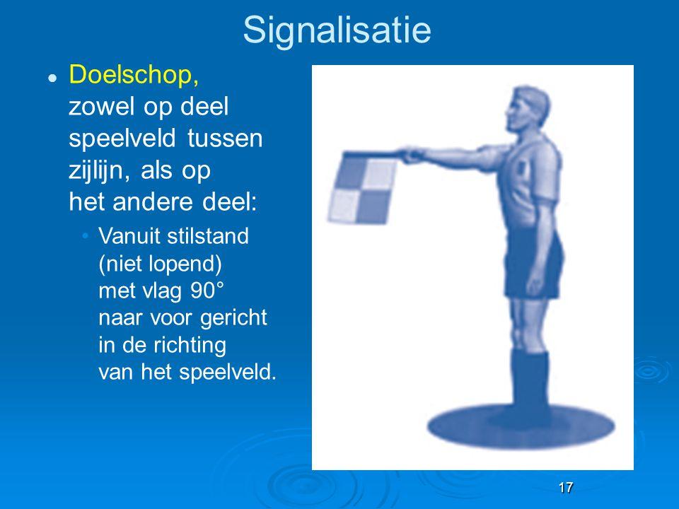 Signalisatie Doelschop, zowel op deel speelveld tussen zijlijn, als op het andere deel: