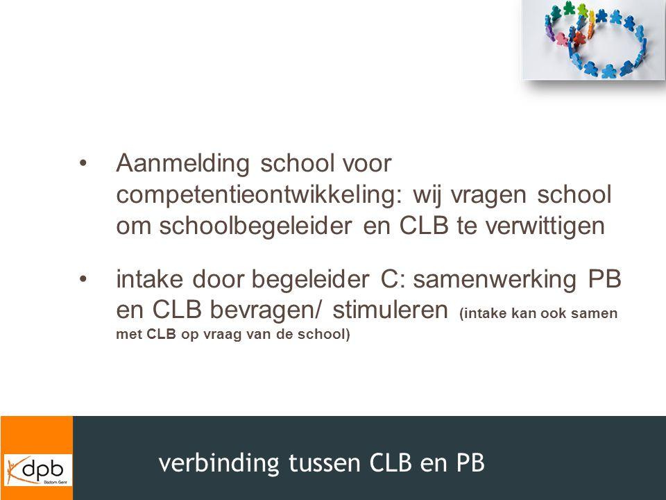 Aanmelding school voor competentieontwikkeling: wij vragen school om schoolbegeleider en CLB te verwittigen